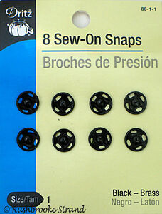Details about Dritz Black Brass Sew On Snaps Sizes 1, 2, 3, and/or 4 for  Sewing and/or Beading