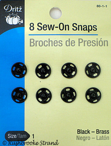 Dritz Black Brass Sew On Snaps Sizes 1 and//or 4 for Sewing and//or Beading 2 3
