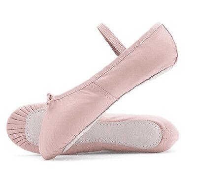 Rosa Zapatos De Ballet Infantil Y Adulto Tamaños. Suela de Cuero Completo. Interior suave