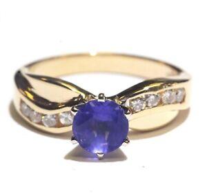 14k-yellow-gold-16ct-SI2-H-diamond-purple-stone-womens-ring-4-1g-estate-vintage