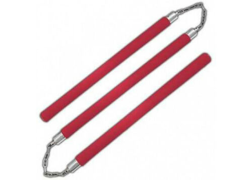 Foam Padded Three Sectional Staff Sansetsukon Red With Plastic Interior Tube