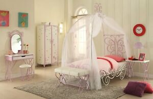 Details about Butterfly Princess Carriage Twin Canopy Bedroom Set in White  & Purple