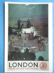 POSTCARD-GWR-LONDON-TOWER-BRIDGE-amp-THE-TOWER-AT-NIGHT