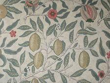 """WILLIAM MORRIS CURTAIN FABRIC DESIGN """"Fruit"""" 2 METRES IVORY/TEAL PR8048/01"""