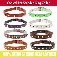 Conical Dog Pet Studded Metal Dog Collar - Handmade In England Brand New