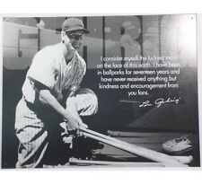 Vintage Replica Tin Metal Sign Lou Gehrig baseball player ball glove bat 1531