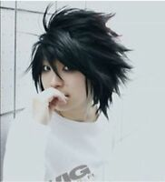 Hot Sell! Popular Death Note L Black Short Stylish Anime Cosplay Wig 08gn