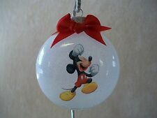 """UNIQUE Handmade Disney Mickey Mouse 3"""" Glass Round Ornament, Made In The USA-NEW"""
