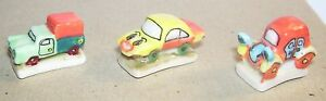 CHARM LOT 3 FEVES VOITURE DESSIN ANIME FEVE PORCELAINE 3D