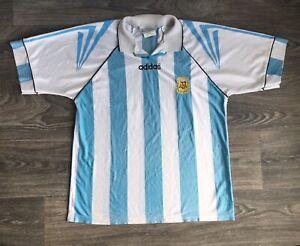 Details about Adidas Jersey AFA Soccer Argentina Vtg Football World Cup Sewn Logo Shirt M/L