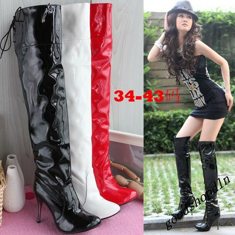 Sexy Womens Patent Leather Pointy Toe Stilettos Pull On Dance Knee High Boots 8