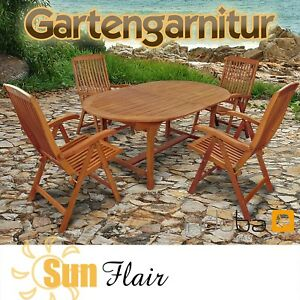 gartenm bel set 5 teilig holz serie sun flair 4 st hle. Black Bedroom Furniture Sets. Home Design Ideas