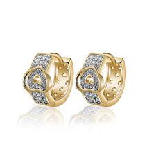 18 k Gold Plated Little Baby Girl Christening Heart Hoops First Earrings E1128