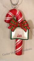 Personalized Candy Cane Ornament - Jan - Free Shipping