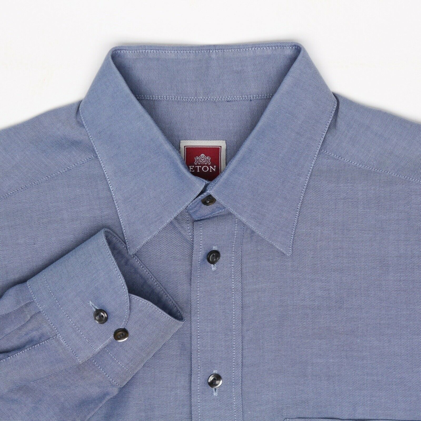 Eton Mens Dress Shirt 15.5 35 bluee End on End Weave Button Front Long Sleeve