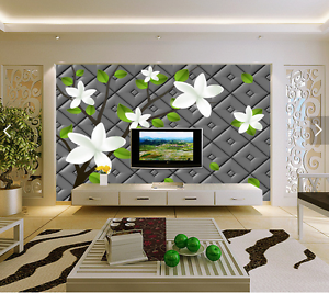 3D White Cartoon Flowers 66 Paper Wall Print Wall Decal Wall Deco Indoor Murals