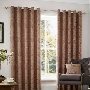 Curtina-WHITCLIFFE-Red-amp-Gold-Paisley-Jacquard-Weave-Eyelet-Curtains