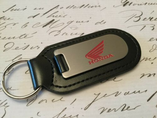 HONDA MOTOR BIKE Key Ring Etched and infilled On Leather 1