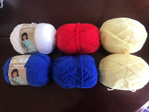 Vintage Natura Sport & Baby Sayelle Blue Red White Yellow Yarn 6 Skeins 2oz Each