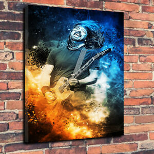 Dave-Grohl-Foo-Fighters-Rock-Printed-Canvas-Picture-Multiple-Sizes-30mm-Deep