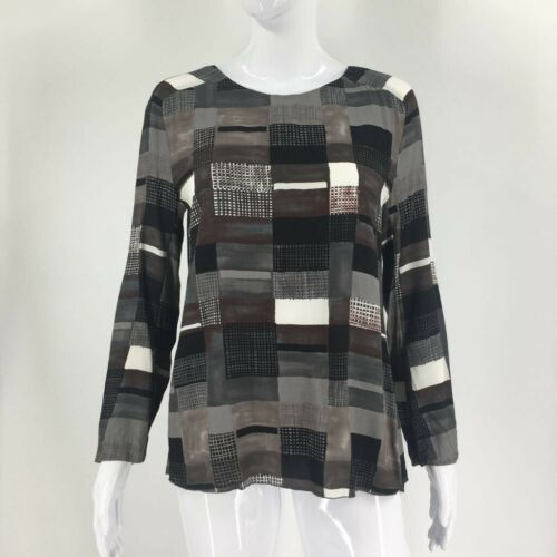 Marni Womens Blouse Multicolor Gray Patchwork Long