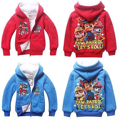 Kids Boy Long Sleeve PAW PATROL Zipper Hoodies Coat Hooded Cartoon Clothes 3-7 Y