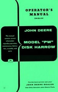 john deere pw disk harrow operators manual jd ebay rh ebay com John Deere Disc Harrow Bearings John Deere Offset Harrow