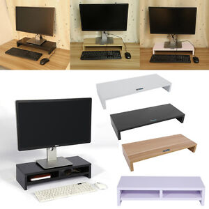 monitorerh hung bildschirmerh hung monitor pc tv st nder halterung aus holz gd ebay. Black Bedroom Furniture Sets. Home Design Ideas