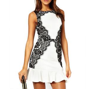 Vestiti Cerimonia Ebay.Dettagli Su Vestito Donna Bianco Pizzo Nero Abito Vestitino Cerimonia Party