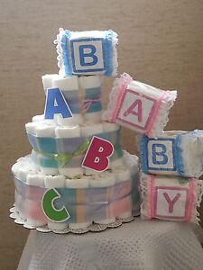 3 tier diaper cake baby shower gift centerpiece boy girl unisex ebay image is loading 3 tier diaper cake baby shower gift centerpiece reheart Choice Image