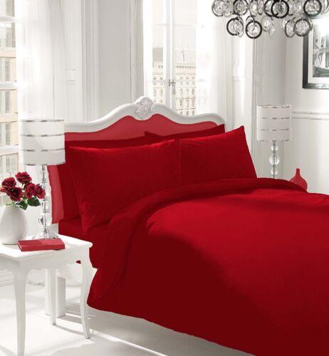 Soft Cotton Blend Plain Dyed Duvet Quilt Cover /& Bedding Set Single Double King