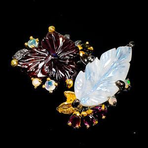 Fine-Art-Design-jewel-Natural-Rhodolite-925-Sterling-Silver-Ring-Size-8-5-R95508