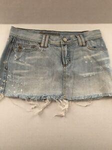 b2c934673 Details about ABERCROMBIE AND FITCH Acid Washed Rhinestone Light Denim Mini  Skirt Size 2 EUC