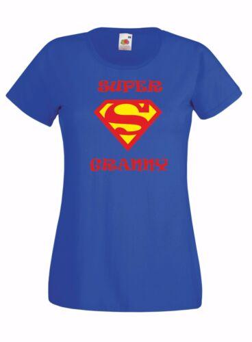 SUPER Granny Mothers day present gift Ladies Crew neck T Shirt Nan Grandma