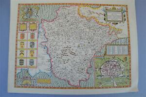 Vintage-decorative-sheet-map-of-Devonshire-John-Speede-1610-Devon