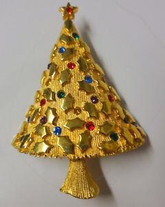 2ef015fb6 Image is loading Vintage-Signed-JJ-Rhinestone-Gold-Tone-Christmas-Tree-