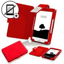 Pelle Rosso custodia con luce LED Amazon Kindle 2016 Proteggischermo & Stilo