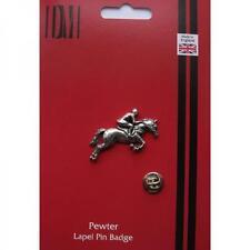 Horse & Jockey Lapel Pin Pony Club Showjumper Cross Country Badge Present in BOX