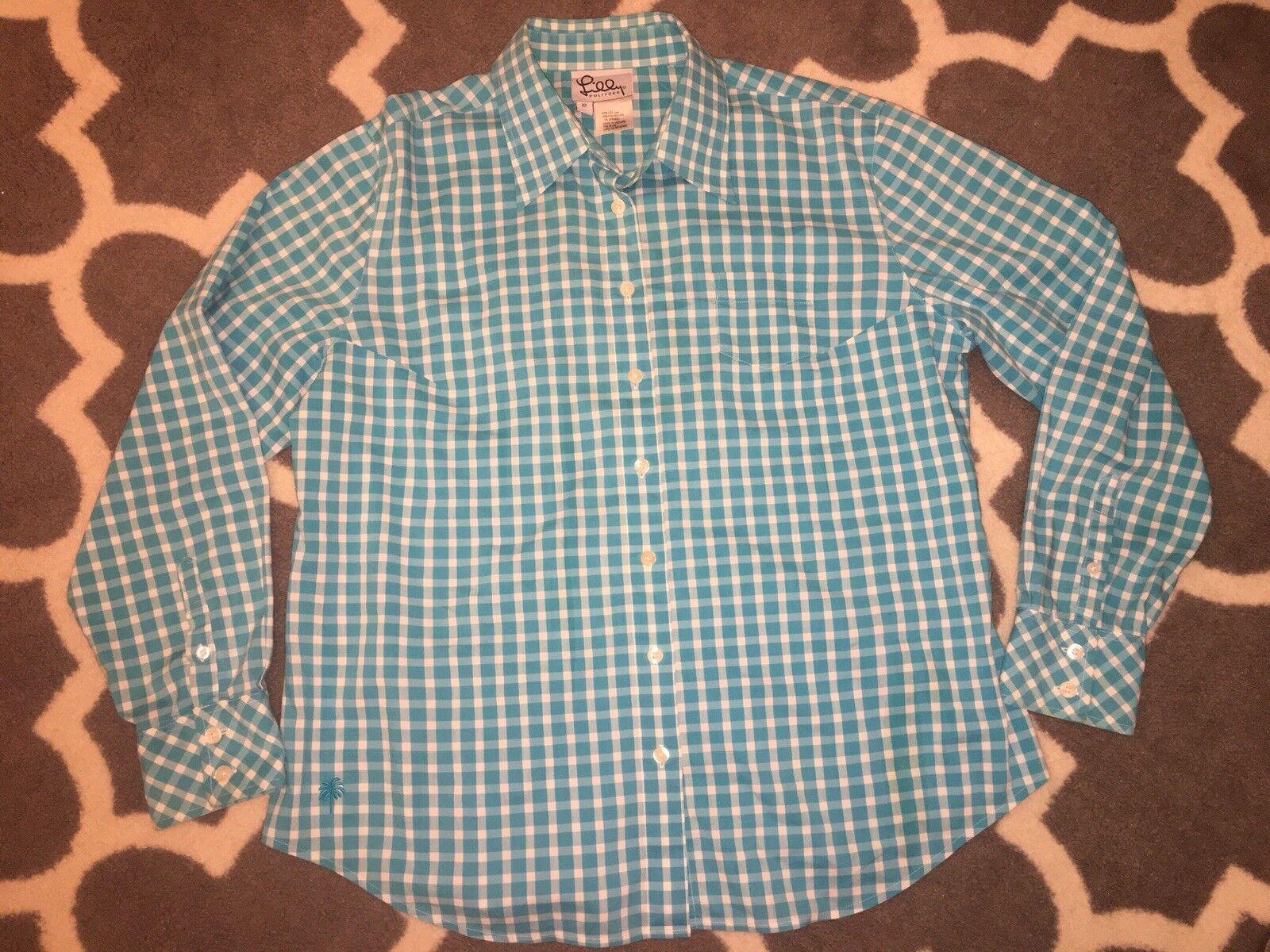 LILLY PULITZER turquoise Weiß Gingham Lange sleeve blouse Sz 12 EUC stretch