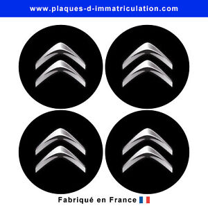 sticker-CITROEN-noir-pour-cache-moyeu-de-jante-lot-de-4