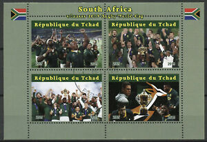 Chad-Deportes-Sellos-2019-CTO-ganadores-de-la-Copa-Mundial-de-rugby-sur-africano-4v-m-s