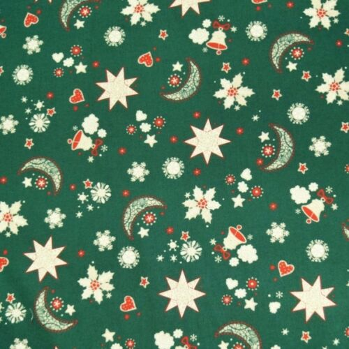 Christmas Dreams Moon Stars Bells Hearts Xmas 100/% Cotton Fabric 140cm Wide