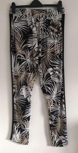NEW EX WALLIS Black White Beige Palm Print Jersey Jogger Trousers Size 10-20