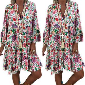 Women-Boho-Floral-Tunic-Midi-Dress-Summer-Loose-Beach-Kaftan-Sundress-Plus-Size