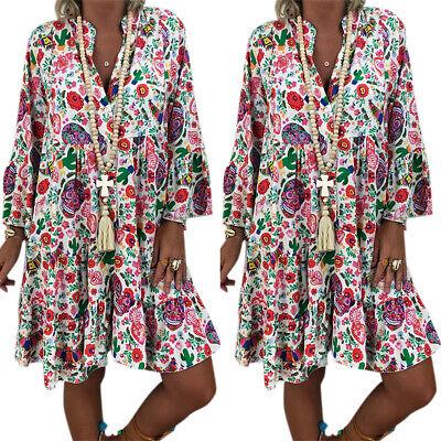 Damen Urlaub Sommer Blume Druck Ärmellos Boho Strand Tunika Minikleid Übergröße