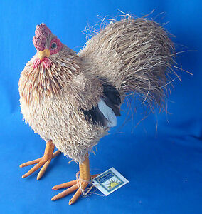"""10"""" straw and feathers sculpted rooster figurine Buon Giorno"""