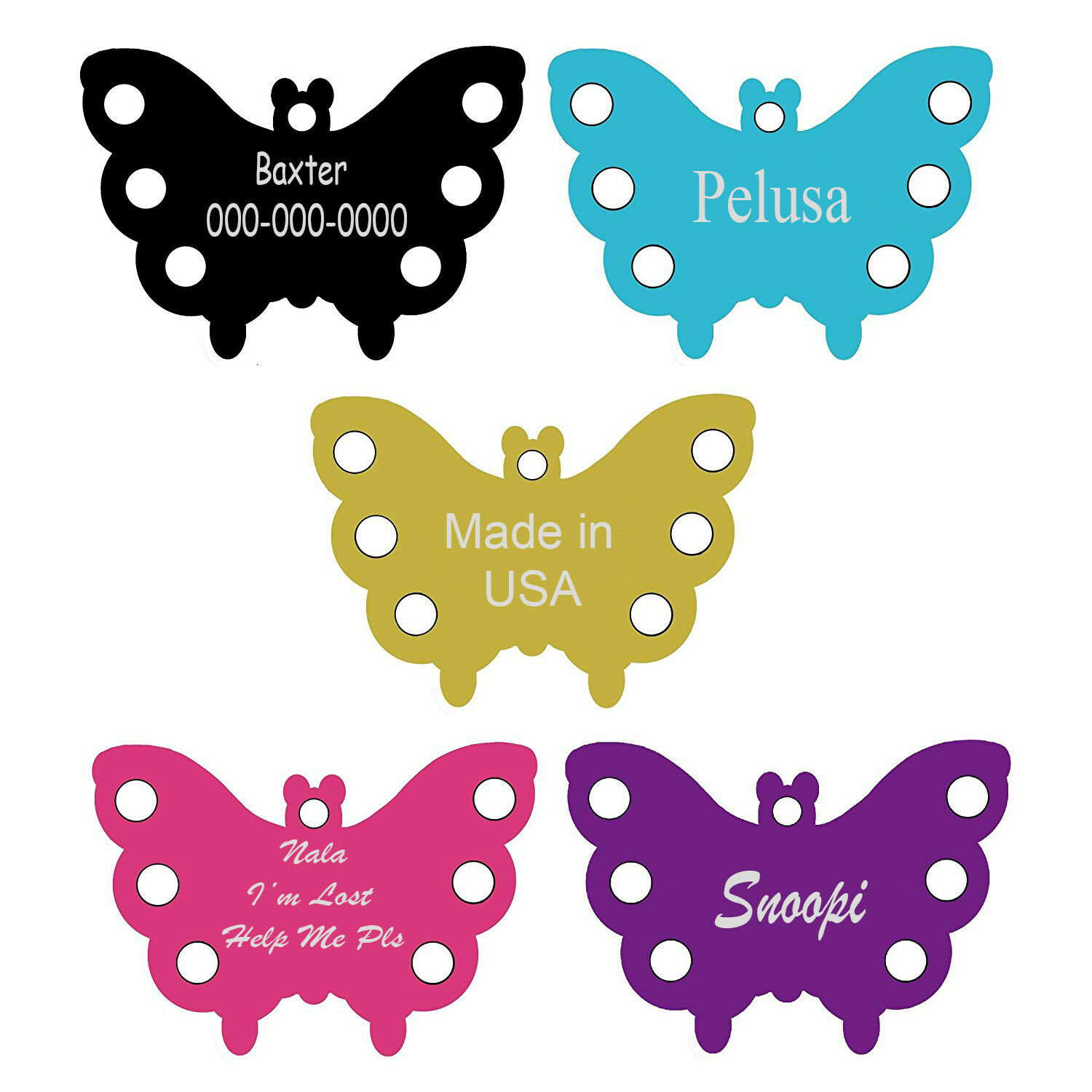 Aluminum Dog and Cat PET ID TAGS BUTTERFLY SHAPE 5 COLORS, PERSONALIZED PREMIUM