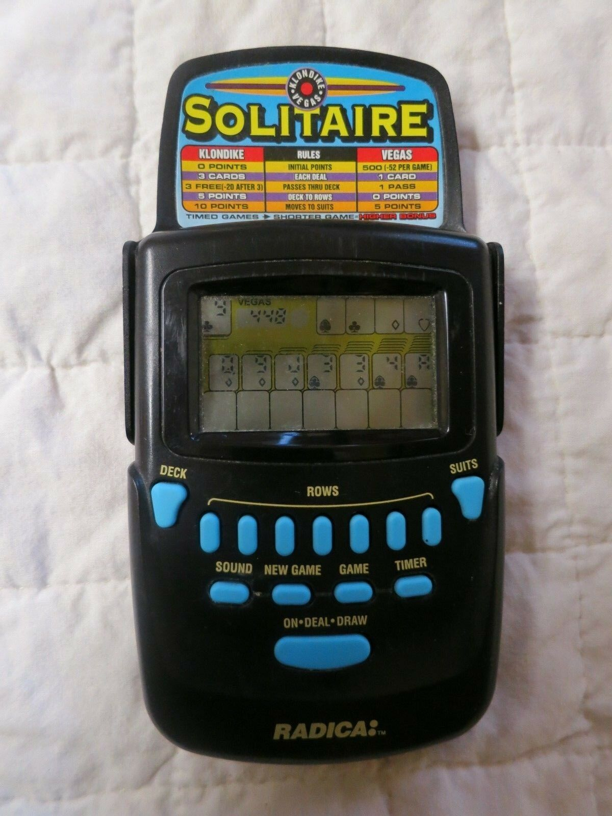 Radica Solitaire 3620 Klondike Vegas Flip Top Cover Handheld Travel Game Works