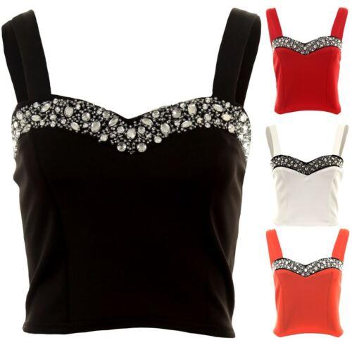 Ladies Strap Silver Diamante Boobtube Stretch Short Bralet Women/'s Crop Top