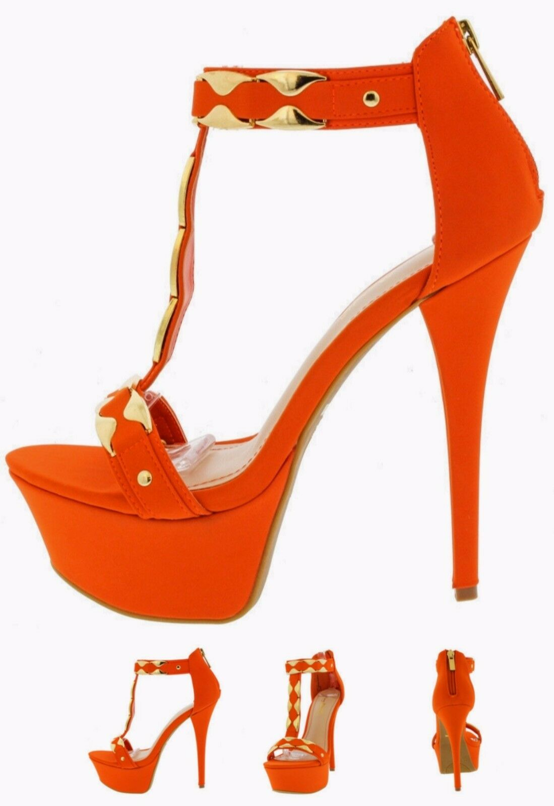 orange gold Metal T-Strap bootie Platform High Heel Stilettos Pumps Sandal H132